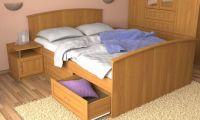 Кровать двухспальная МДФ с 4 ящиками
